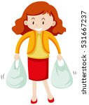 woman with two shopping bags... | Shutterstock .eps vector #531667237
