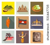 cambodia travel icon set | Shutterstock .eps vector #531667735