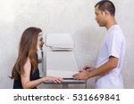 doctor examining woman's eyes...   Shutterstock . vector #531669841