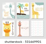 Set Of Cute Giraffes And...