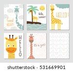 set of cute giraffes and...   Shutterstock .eps vector #531669901