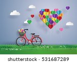 red bike parked on the grass... | Shutterstock .eps vector #531687289
