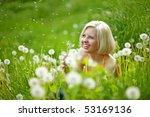 girl with dandelions | Shutterstock . vector #53169136
