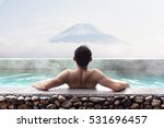 japanese man relaxing in hot... | Shutterstock . vector #531696457