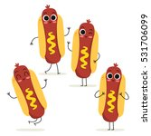 hot dog cute fast food vector