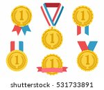 golden medals with ribbons ... | Shutterstock .eps vector #531733891
