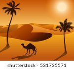 Camel In The Desert Landscape...