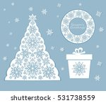 laser cut out xmas set with... | Shutterstock . vector #531738559