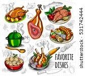 set color sketch meat  fish ...   Shutterstock .eps vector #531742444