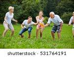 happy man catching frisbee... | Shutterstock . vector #531764191