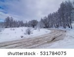 Mountain Road In Winter Snow