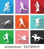 Sport Silhouettes On Flat Icon...