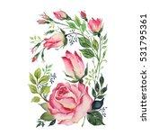 watercolor sketch of a bouquet... | Shutterstock . vector #531795361