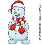 cartoon snowman holding cup of...   Shutterstock .eps vector #531795931