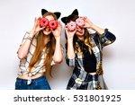 happy pretty girls in trendy... | Shutterstock . vector #531801925