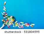 assorted different color pills... | Shutterstock . vector #531804595
