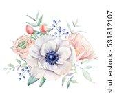 elegant watercolor flower...   Shutterstock . vector #531812107