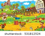 Cartoon Farm Happy Scene With...