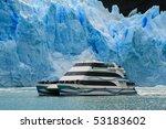 Boat at glacier Perito Moreno in El Calafate, Patagonia, Argentina - stock photo