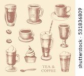 set of coffe and tea mugs... | Shutterstock .eps vector #531836809