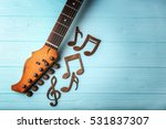 guitar neck and music notes on... | Shutterstock . vector #531837307