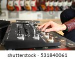 female hand on audio control... | Shutterstock . vector #531840061