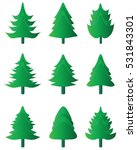 green silhouettes of  christmas ... | Shutterstock .eps vector #531843301