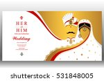 indian wedding card  gold and... | Shutterstock .eps vector #531848005