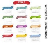 calendar 2017 in a flat design... | Shutterstock .eps vector #531858025