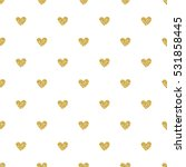 Seamless Gold Heart Glitter...