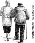 old couple on a walk | Shutterstock .eps vector #531859951