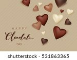chocolate hearts on waffle...   Shutterstock .eps vector #531863365