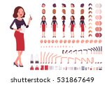 Secretary character creation set. Self-confident businesswoman, attractive assistant, effective salesperson, girlboss, femme fatale. Build your own design. Cartoon flat-style infographic illustration | Shutterstock vector #531867649