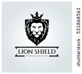 Stock vector lion shield logo design template lion head logo element for the brand identity vector 531868561