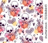 seamless pattern with skull and ... | Shutterstock .eps vector #531868645