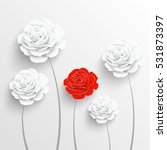 paper flower. rose cut out of... | Shutterstock .eps vector #531873397