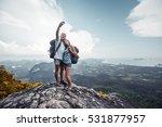 couple of hikers taking selfie... | Shutterstock . vector #531877957