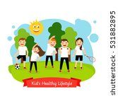 kids healthy lifestyle isolated ... | Shutterstock .eps vector #531882895