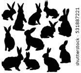 Silhouette Rabbit   Vector ...