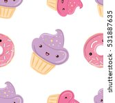 seamless pattern with sweets  ... | Shutterstock .eps vector #531887635