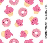 seamless pattern with sweets  ... | Shutterstock .eps vector #531887641