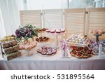 sweet bar with muffins cakes... | Shutterstock . vector #531895564