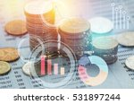 pile coin money with account... | Shutterstock . vector #531897244