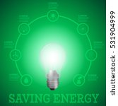 luminous bulb on green luminous ... | Shutterstock .eps vector #531904999