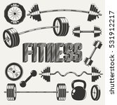 Fitness Icon Set With Barbell...