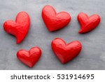 Red Heart On The Gray Background