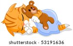 Stock vector cute sleeping kitten hugging his teddy bear 53191636