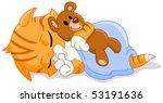 Stock vector cute sleeping kitten hugging his teddy bear 53191636