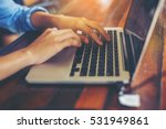 hand control on a laptop touch | Shutterstock . vector #531949861