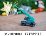 christmas decoration. truck car ... | Shutterstock . vector #531954457